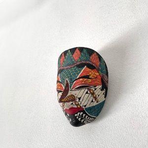VTG 90s ASIAN home Decor ART mask halloween RARE